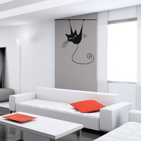 Wall Vinyl Sticker Decals Art Mural Black Cat O191