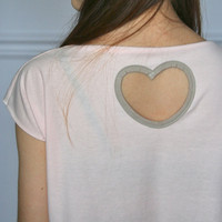 Heart Cutout Crop Top in Light Pink and Brown / Neutral Tones (Size Extra Small to Medium)