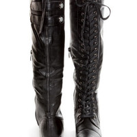 Rocker Black Lace-Up Knee High Boots - $66.00