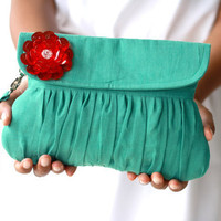 Ultramarine green clutch with red beaded flower, wedding clutch, autumn/fall fashion clutch  purse