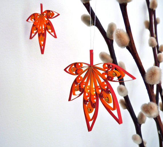 Fall autumn leaves hanging decorations from vbpuredesigns on for Autumn leaf decoration