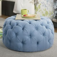 Dierdre Blue Tufted Ottoman from Through the Country Door