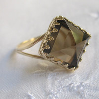 Smokey quartz ring, Gold ring, Square ring, Vintage ring, 10 mm stone, Brown ring, Bridal ring, faceted Smokey quartz ring, gold and brown