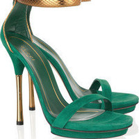 Gucci Suede And Glossed-Python Sandals - &amp;#36;205.00