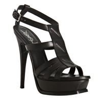 Yves Saint Laurent Black Leather 'New Riveg' Platform Sandals - $239.00