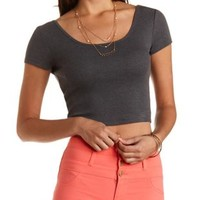 Scoop Neck Ribbed Crop Top by Charlotte Russe - Heather Gray