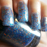 Liams Galaxy Nail Lacquer - Blue Luminous Glow in the Dark Glitter Custom Nail Polish - Full Size Bottle