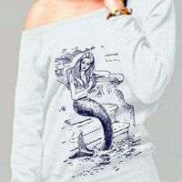 mermaid sweatshirt - vintage design MERMAID shirt - women&#x27;s white fleece scoop neck sweatshirt