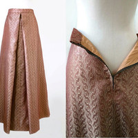Pink And Gold Brocade Skirt - Large - Vintage Skirt - Gorgeous Maxi Long Evening Party Cocktail Skirt