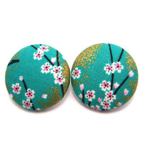 XL Button Earrings/ Clip on earrings- Kimono Sakura Fabric Fluttering Sakura On Green
