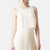 Women's Topshop Pleated Overlay Dress,