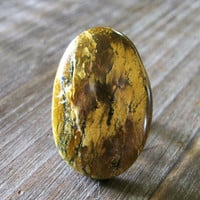 Quarry Cocktail Ring - Black Bark Brown Mustard Yellow Large Oval Marble Cabochon Antique Brass Adjustable Band - Stone Modern Nature Boho
