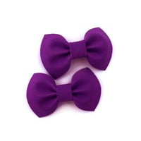 Set of two small purple bows on barrette clips