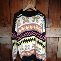 Vintage Knit Holiday Sweater,  L XL, Peru
