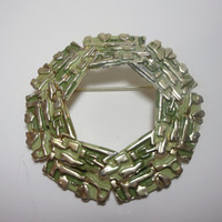 Vintage Brooch Pin Green Gold large round open center abstract Aztec design costume jewelry