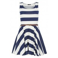 Navy and White Stripe Skater Dress - Quiz Clothing