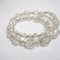 Vintage Crystal Bead Bracelet or Choker necklace adjustable 1950s era spiral costume jewelry