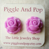 Purple Rosebud Earrings. Flower Studs, Purple Earrings, Rose Earrings. Art Deco. Vintage Inspired. Summer Fashion. FSE1.