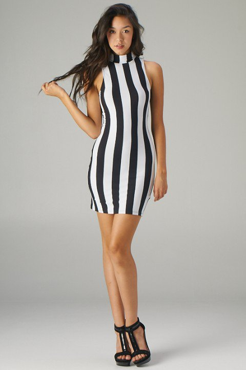 black and white striped fitted dress with from ustrendy