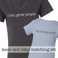 i can grow people mom and baby matching t shirt set