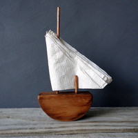 Simple Wood Sailboat Napkin Holder by OceanSwept on Etsy
