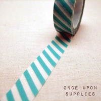 Turquoise and White Diagonal Stripes Japanese Washi Tape