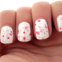 Animal Cookie- Pinks, White Glitter Nail Polish