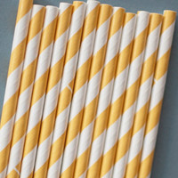 50 Yellow barber striped paper drinking straws  by isakayboutique