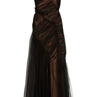 Alberta Ferretti Tulle-overlay silk-satin gown - 70% Off Now at THE OUTNET