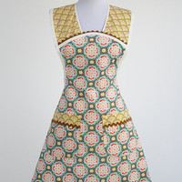 Cute Retro Apron Kate Spain Fabric Vintage Inspired Geometric Aqua and Yellow Cocina Style