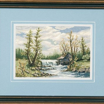 The Old Mill - A Hand Made Picture in Petit Point - Framed Picture with Mats
