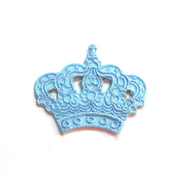 Iron on Patch/ Light Blue/ Crown/ Applique/ Crown Embroidery