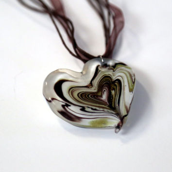 Fused Glass Heart, Heart Pendant, Brown Heart, Gold Heart, heart necklace, Valentines, Sweetheart, Gift for Her, Love, glass white cream