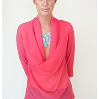 Tickle Me Pink! Cowlneck Blouse - Tops - Apparel | Sugar and Sequins