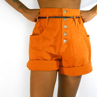 Orange Denim High Waisted Shorts by Nada Nuff