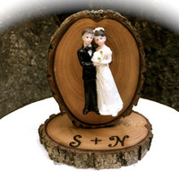 Wedding cake topper rustic groom bride wooden toppers