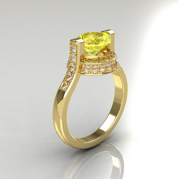 Italian Bridal 14K Yellow Gold 1.5 Carat Yellow Sapphire Diamond Wedding Ring AR119-14YGDYS