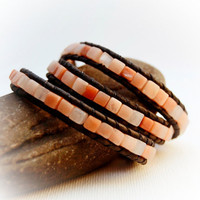 Beaded leather wrap bracelet. Pink beaded boho chic bracelet. Natural gemstone cube bead bracelet.