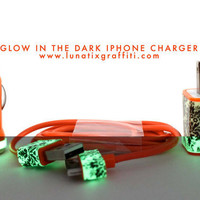 Damask Glow on Orange iPhone Charger