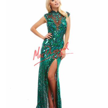 High Slit Open Back Green Gown