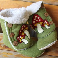 Shroom Blippers Adult Bootie Slippers by DKMagArts on Etsy
