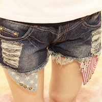Vintage Star stripes US Flag American hot exposed pockets studded Denim shorts