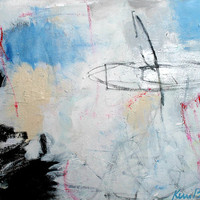 """Painting On Canvas, Light Abstract Expressionist Painting, Muted, Black, White, """"And So It Is"""""""
