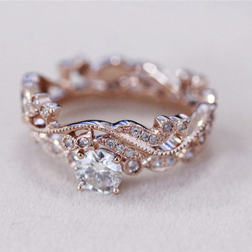 Moissanite Ring w Full Eternity Matching Band Moissanite Wedding ...