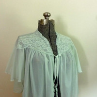 Vintage 1960s Vanity Fair Mint Green Bed Jacket by rileybella123