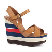 Steve Madden Tan Striped Platform Wedge Heels