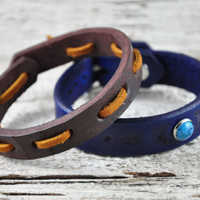 Leather Bangle Bracelets Pair