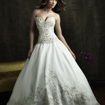 2011 allure bridal white silver from unique vintage for Silver beaded wedding dress