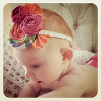 Headband 3 Fabric Rosette Fiesta Fun by maudiek on Etsy