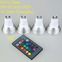 Weanas® 4x GU10 RGB Color Changing LED Light Bulb Lamp with Remote Control 3 Watt AC 85V-265V 16 Multi Color Equivalent to 20W Incandescent Bulb Replacement